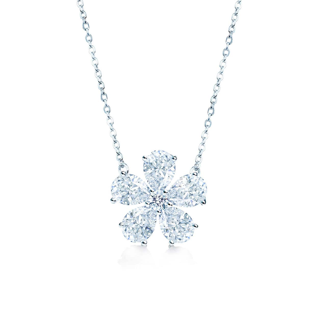 Flora Silver Pear Cut Flower Necklace - Abelstedt