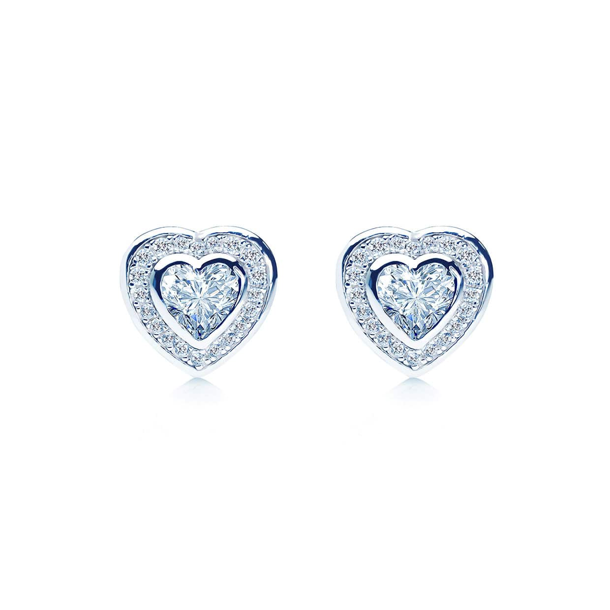 Loving Bezel Silver Heart Earrings - Abelstedt