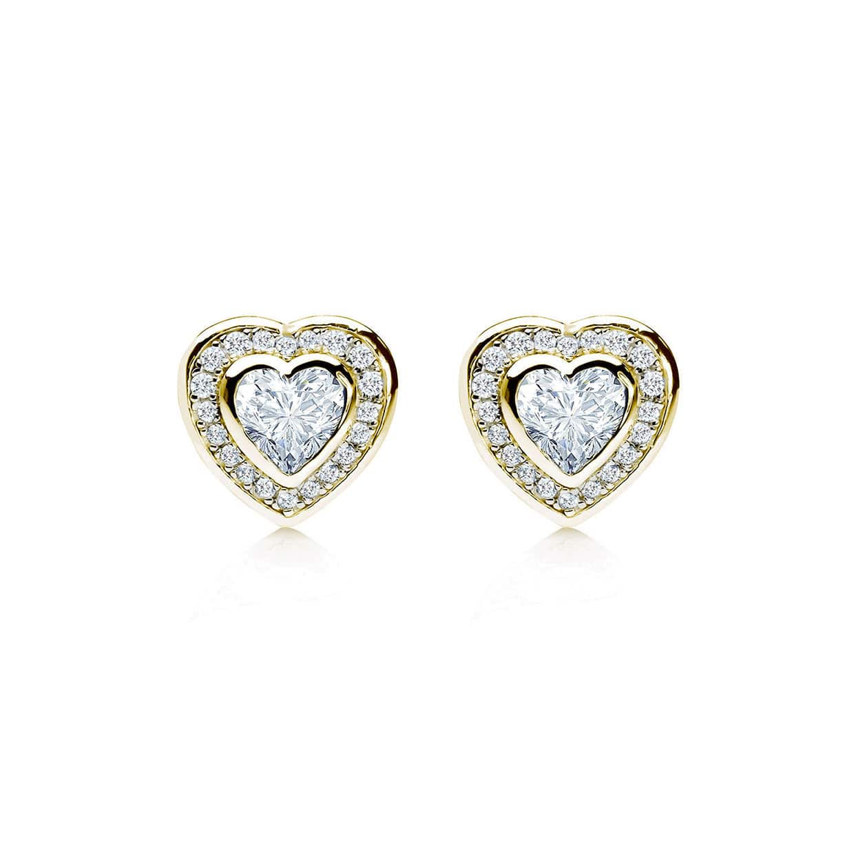 Loving Gold Bezel Heart Earrings - Abelstedt
