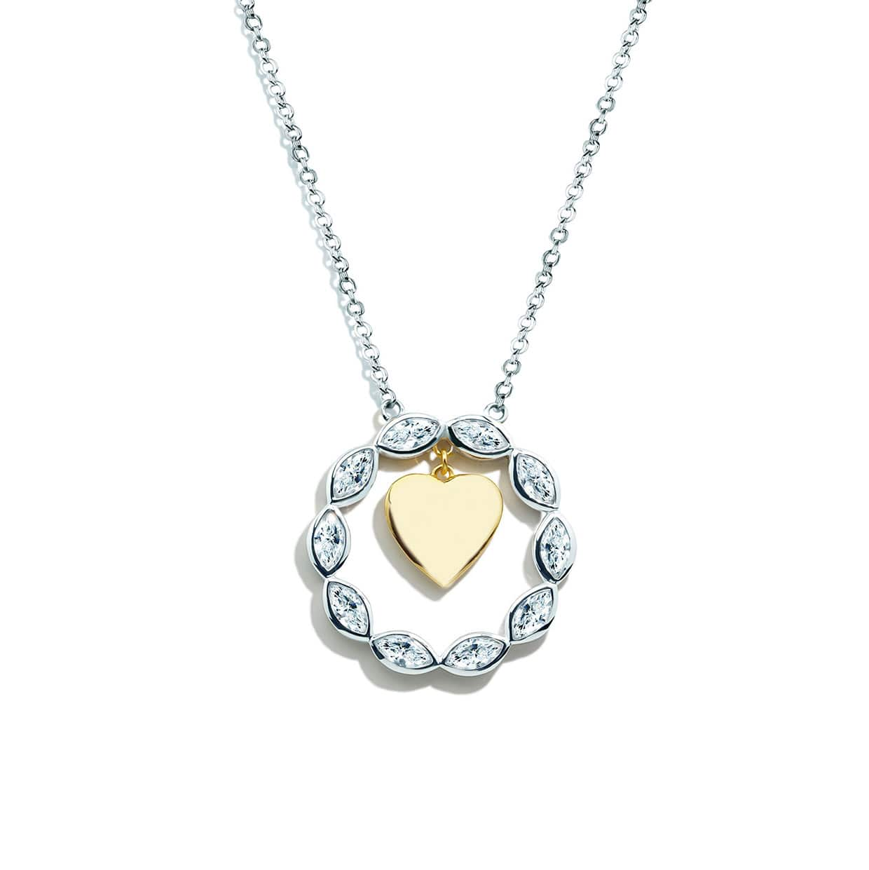 Loving Gold & Silver Moveable Heart Necklace