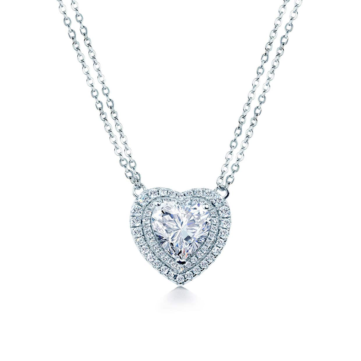 Loving Silver Double Halo Heart Necklace