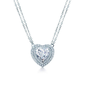 Loving Silver Double Halo Heart Necklace - Abelstedt