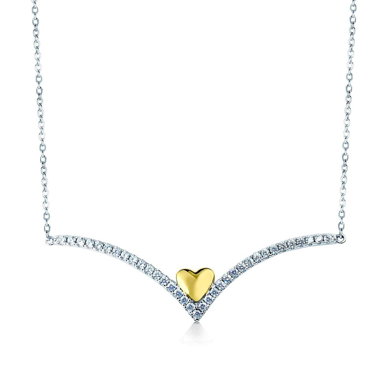 Loving Silver & Gold V Heart Necklace - Abelstedt
