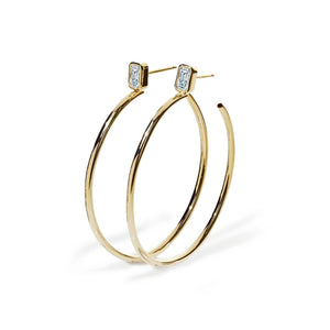 Oxford Classic Gold Emerald Cut Hoop Earrings - Abelstedt