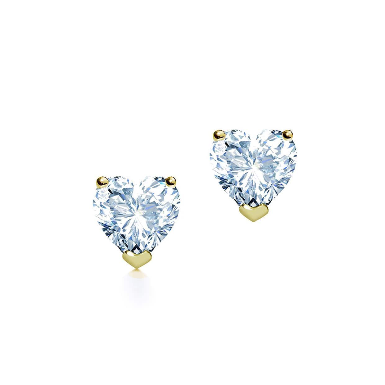 Oxford Classic Gold Three-Claw Heart Earrings