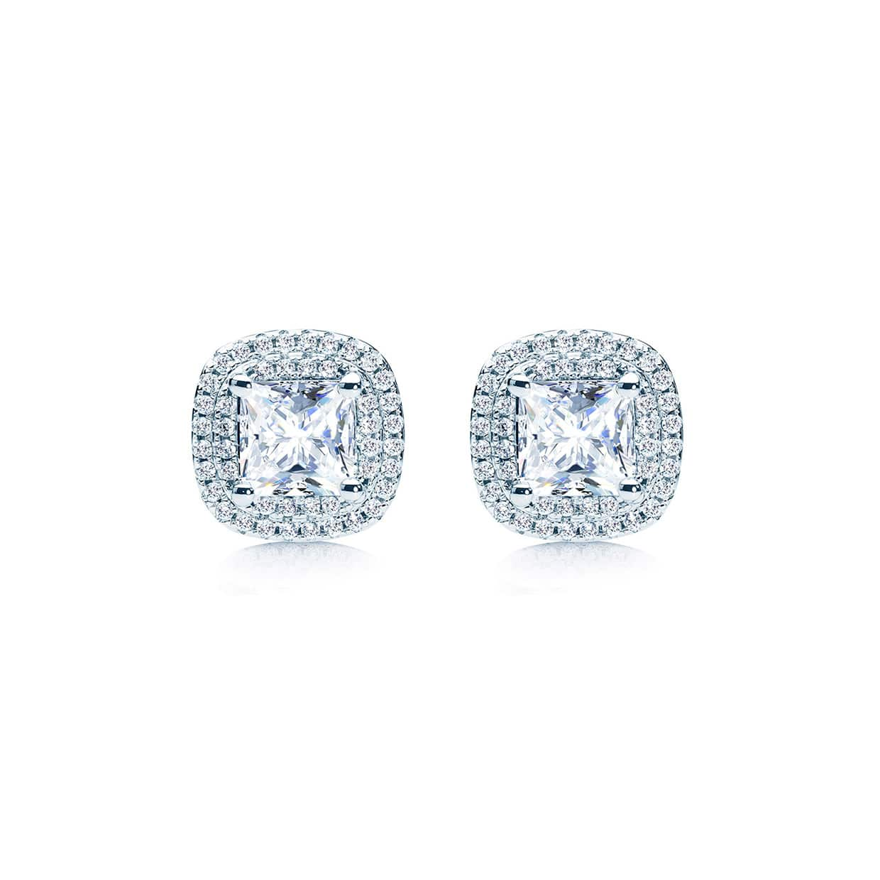 Oxford Double Halo Cushion Cut Earrings - Abelstedt