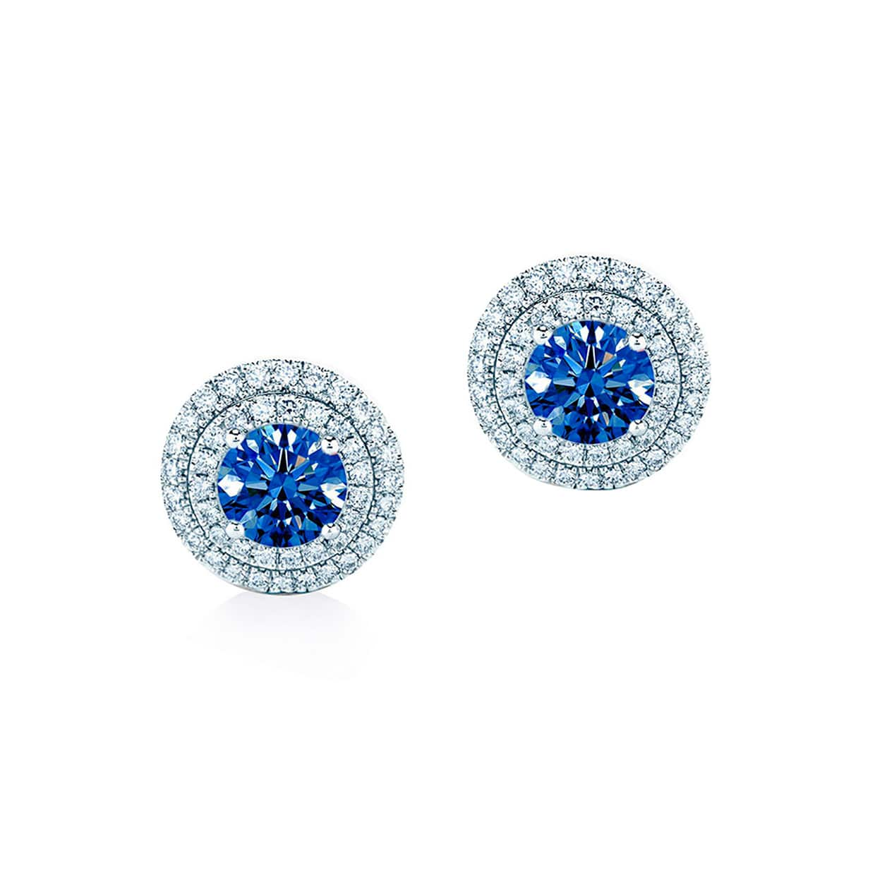 Oxford Double Halo Sapphire Blue Earrings - Abelstedt
