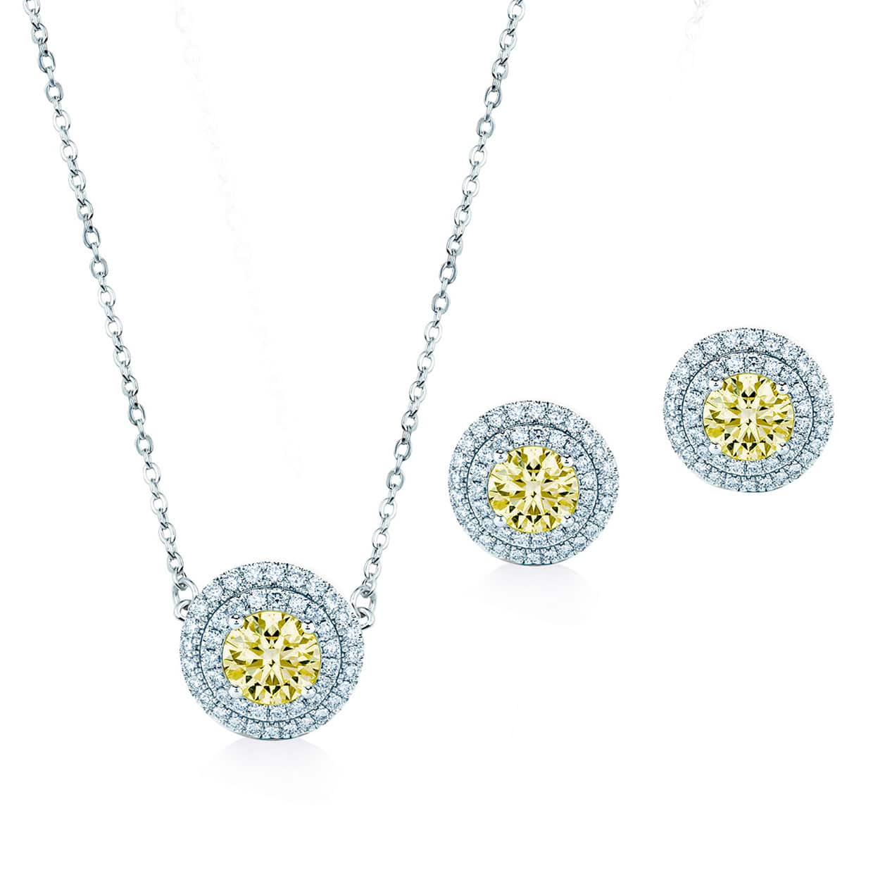 Oxford Double Halo Silver Gift Set yellow - Abelstedt