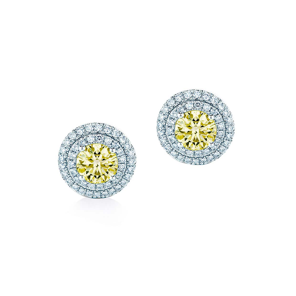 Oxford Double Halo Yellow Earrings - Abelstedt