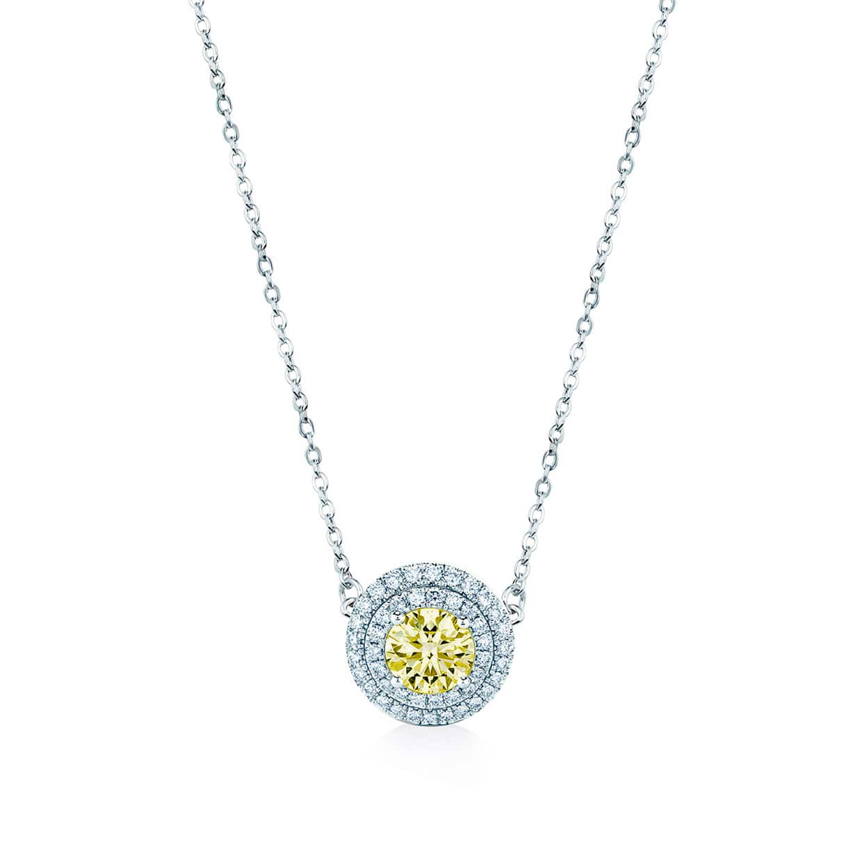 Oxford Double Halo Yellow Necklace