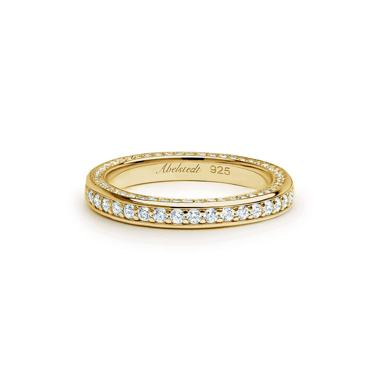 Oxford Gold Band Ring With Side Stone