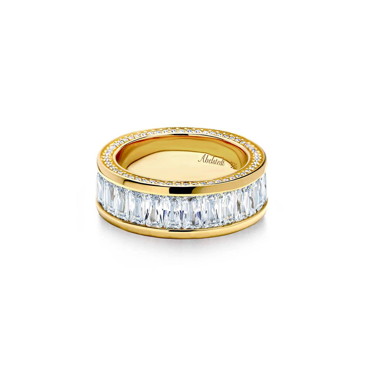 Oxford Gold Emerald Eternity Ring with Side Stones