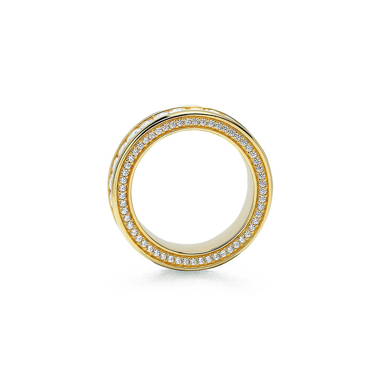 Oxford Gold Emerald Eternity Ring with Side Stones - Abelstedt
