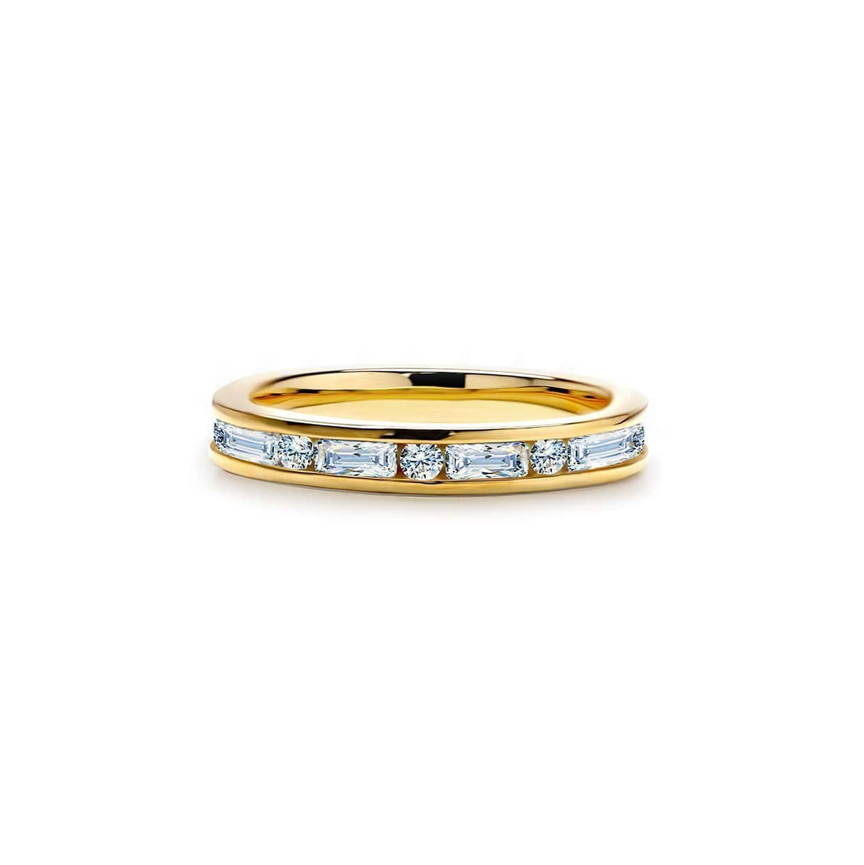 Oxford Gold Emerald & Round Cut Band Ring - Abelstedt