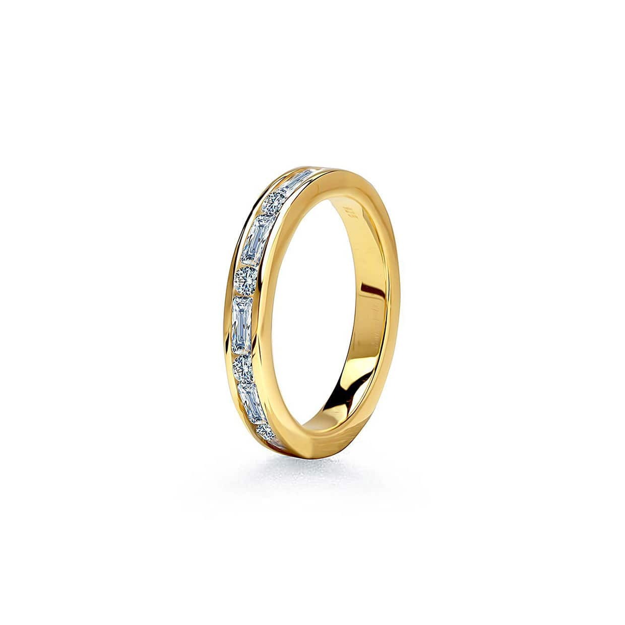 Oxford Gold Emerald & Round Cut Band Ring