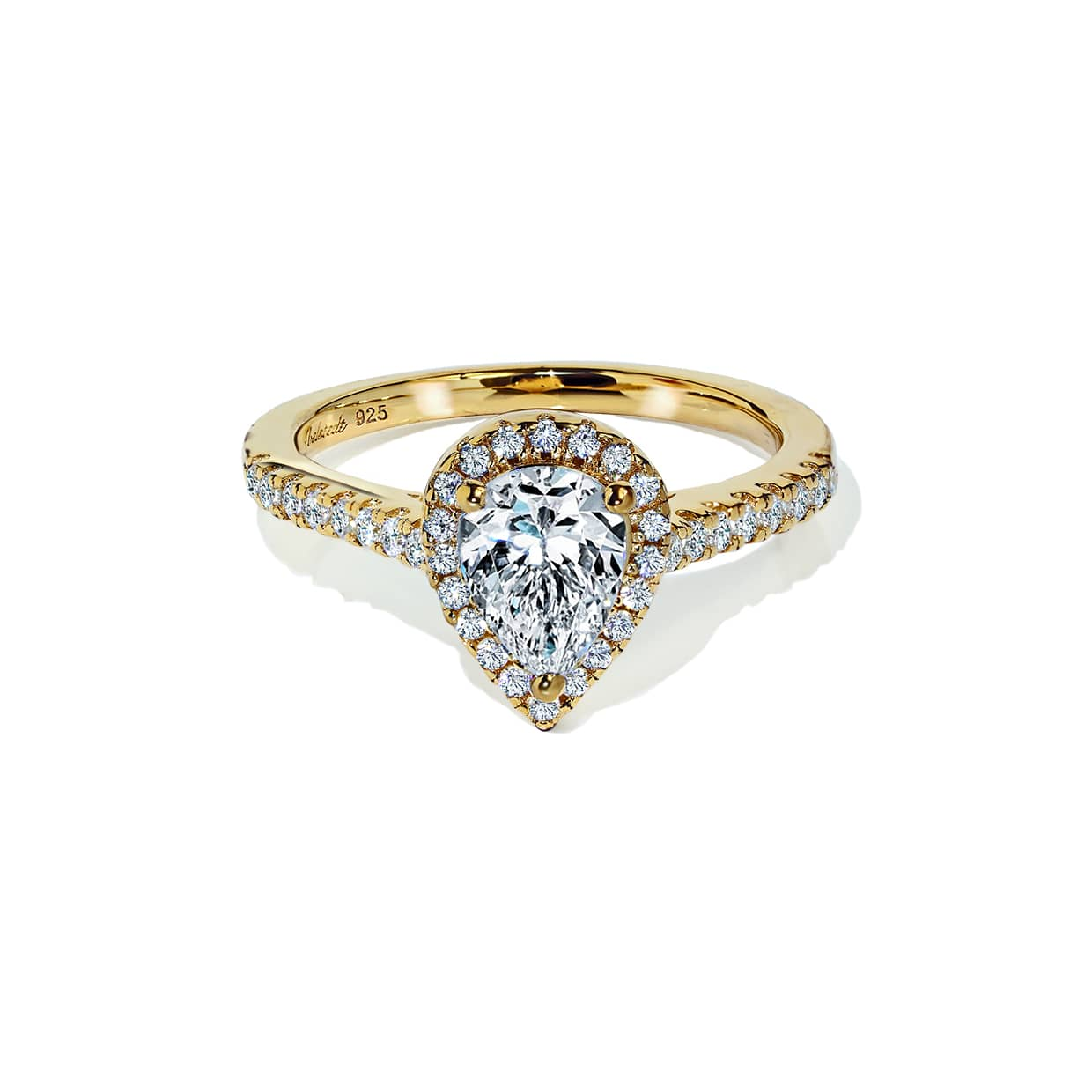 Oxford Gold Halo Pear Ring