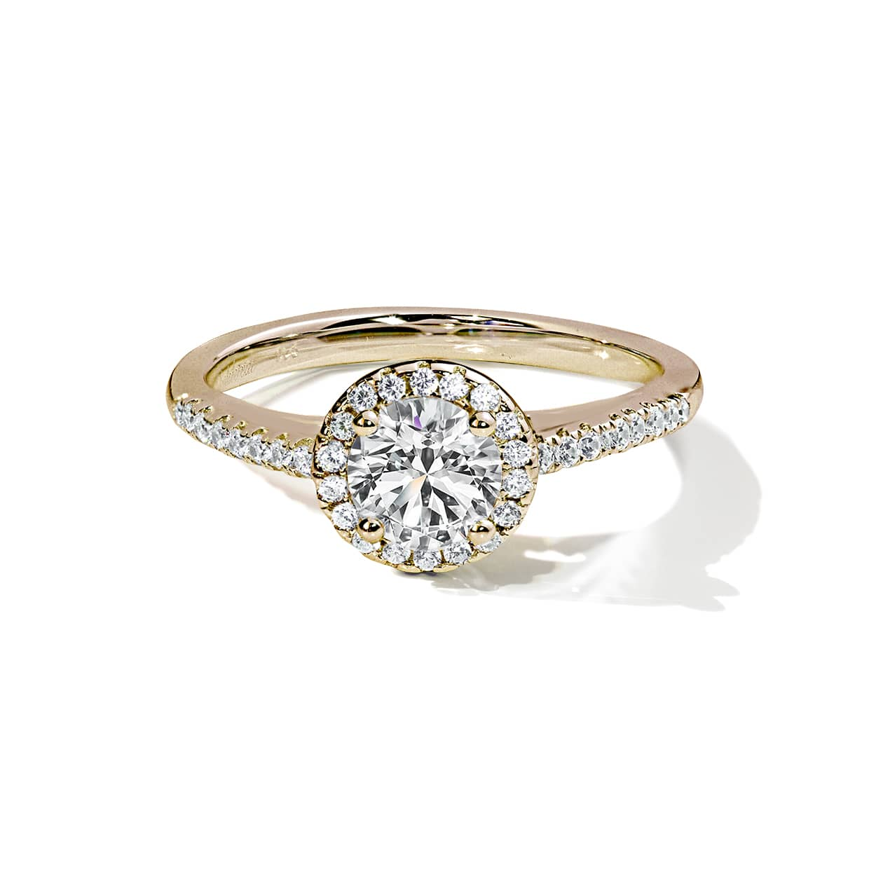 Oxford Gold Halo Round Cut Ring - Abelstedt