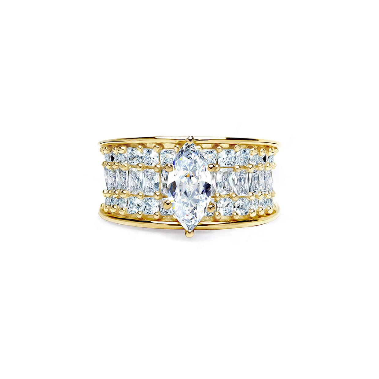 Oxford Gold Marquise & Princess Cut Ring
