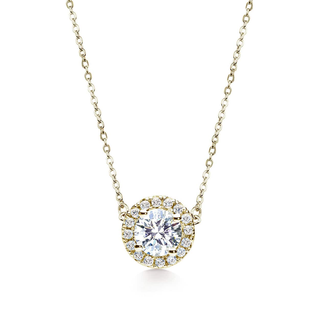 Oxford Gold Round Cut Halo Necklace