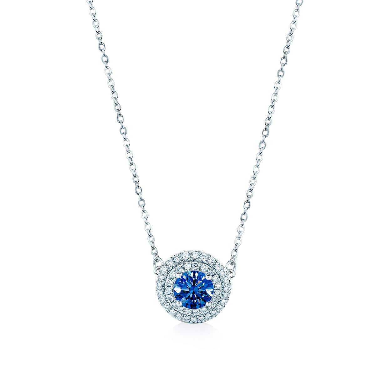Oxford Silver Double Halo Sapphire Blue Necklace