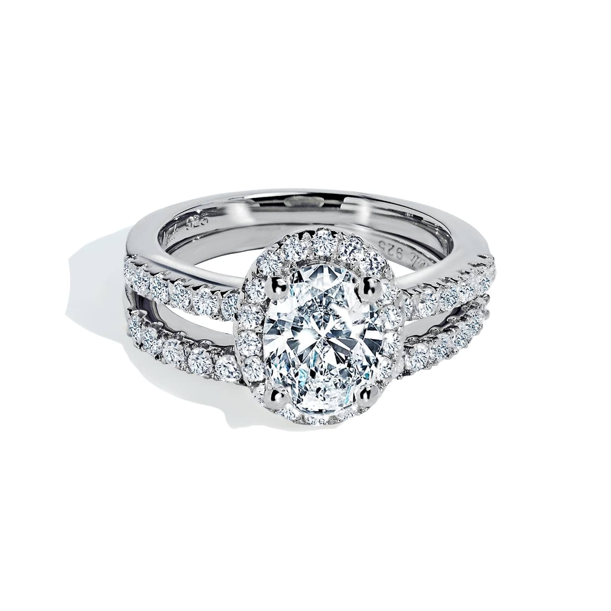 Oxford Silver Halo Oval Cut Ring