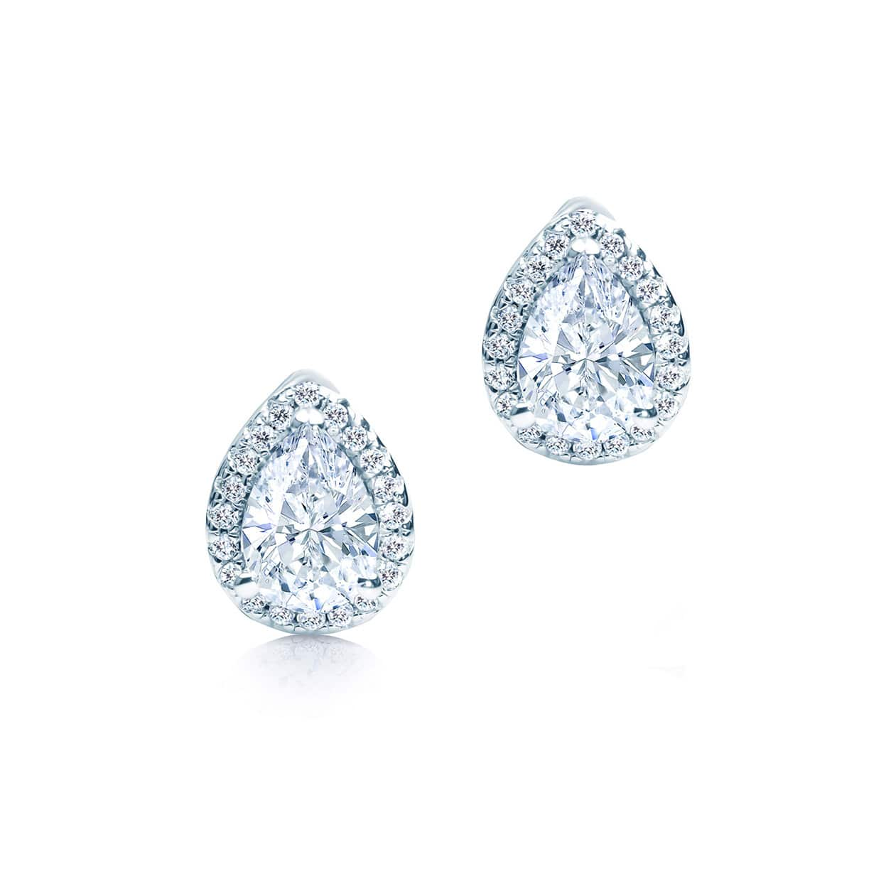 Oxford Silver Halo Pear Cut Earrings - Abelstedt