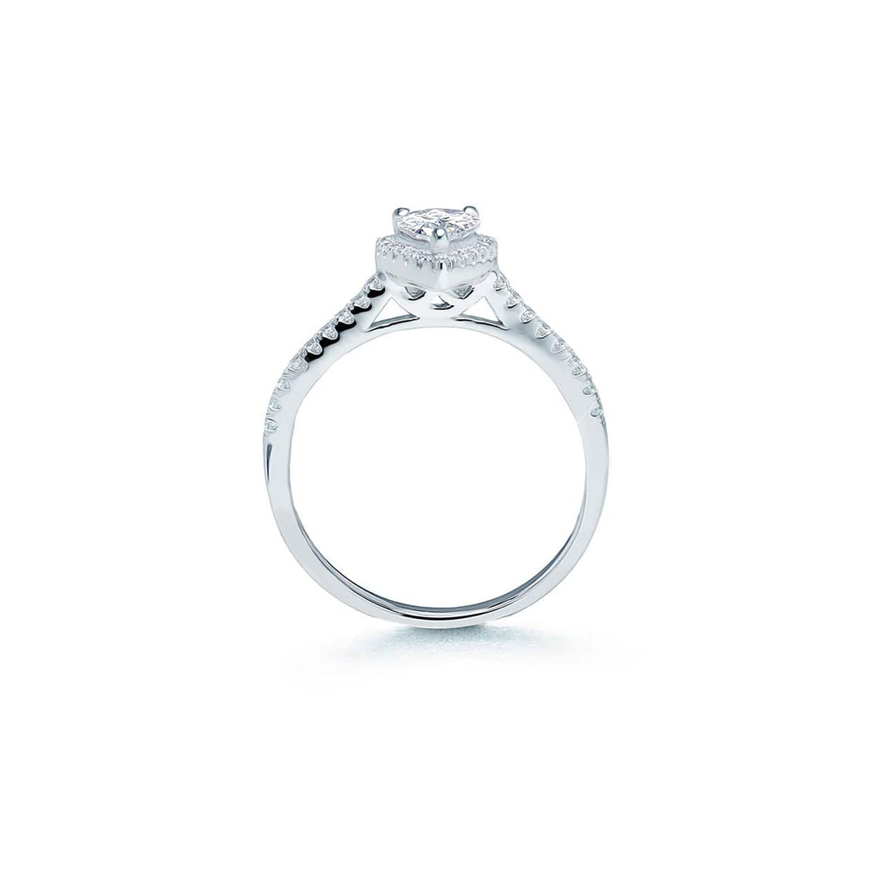 Oxford Silver Halo Pear Ring - Abelstedt