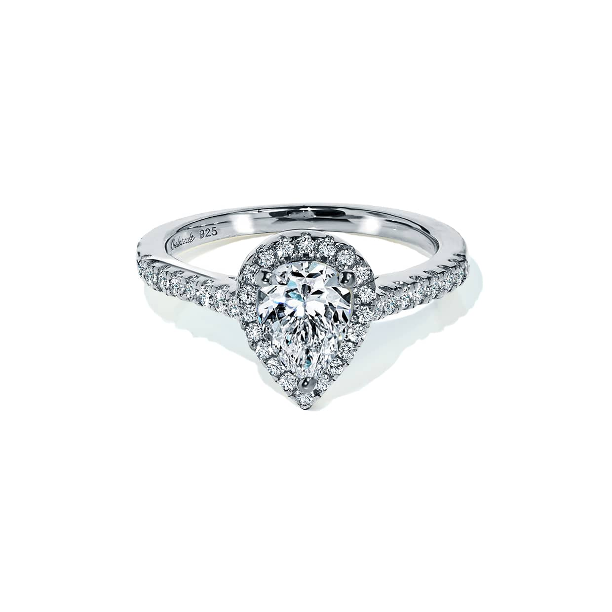 Oxford Silver Halo Pear Ring
