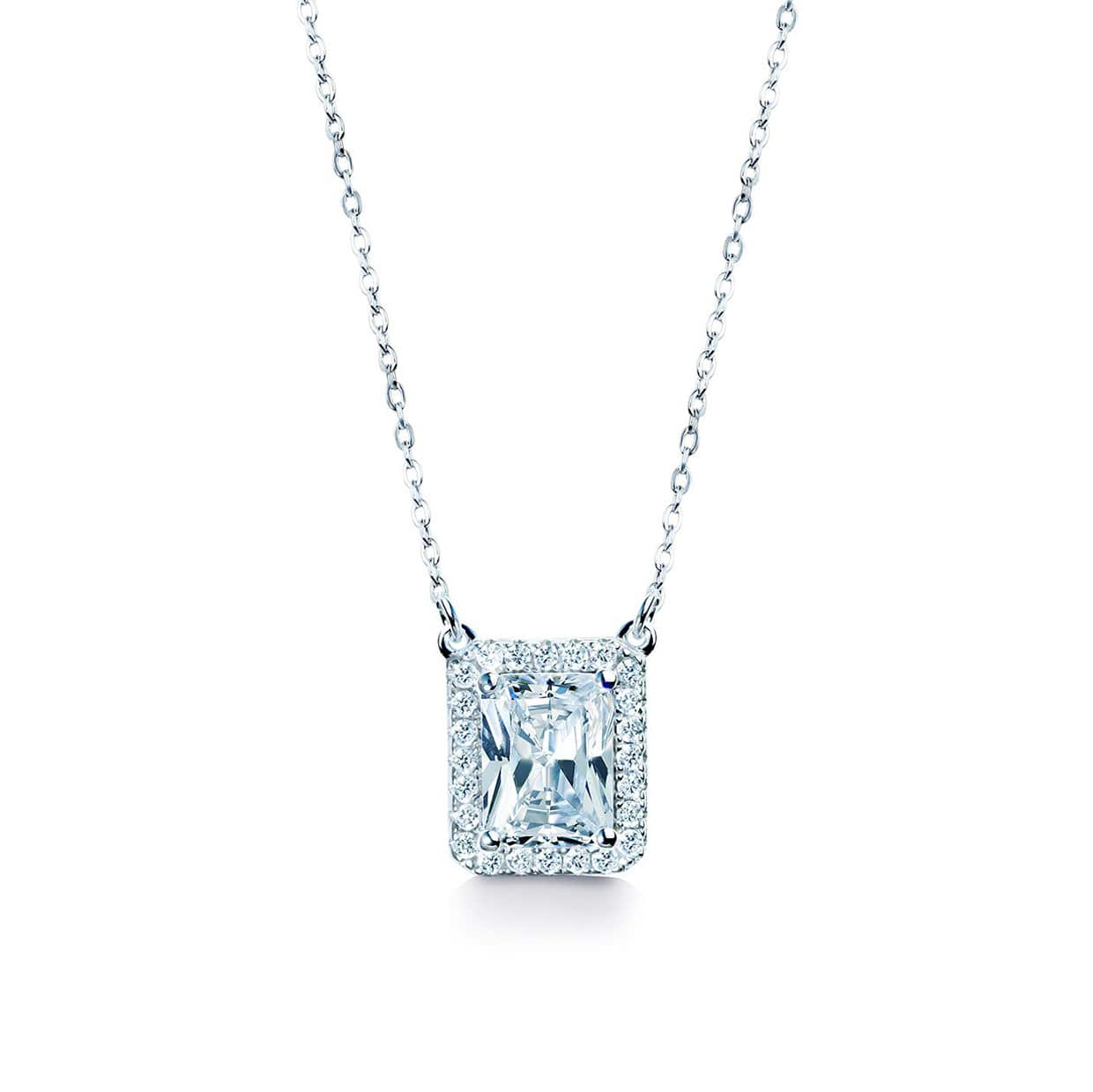 Oxford Silver Halo Radiant Necklace