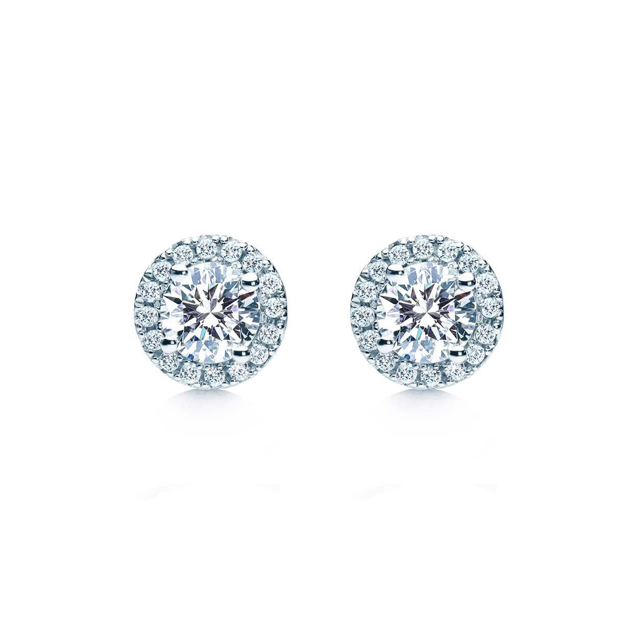 Oxford Silver Halo Round Earrings
