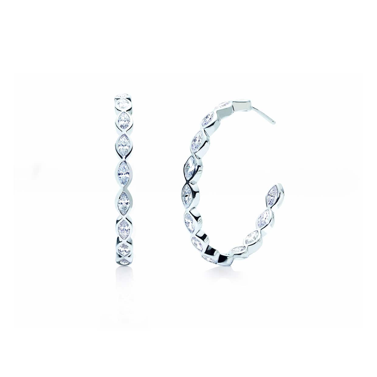 Oxford Silver Marquise Eternity Hoop Earrings - Abelstedt