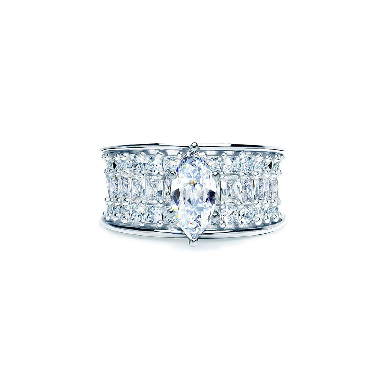 Oxford Silver Marquise & Princess Cut Ring