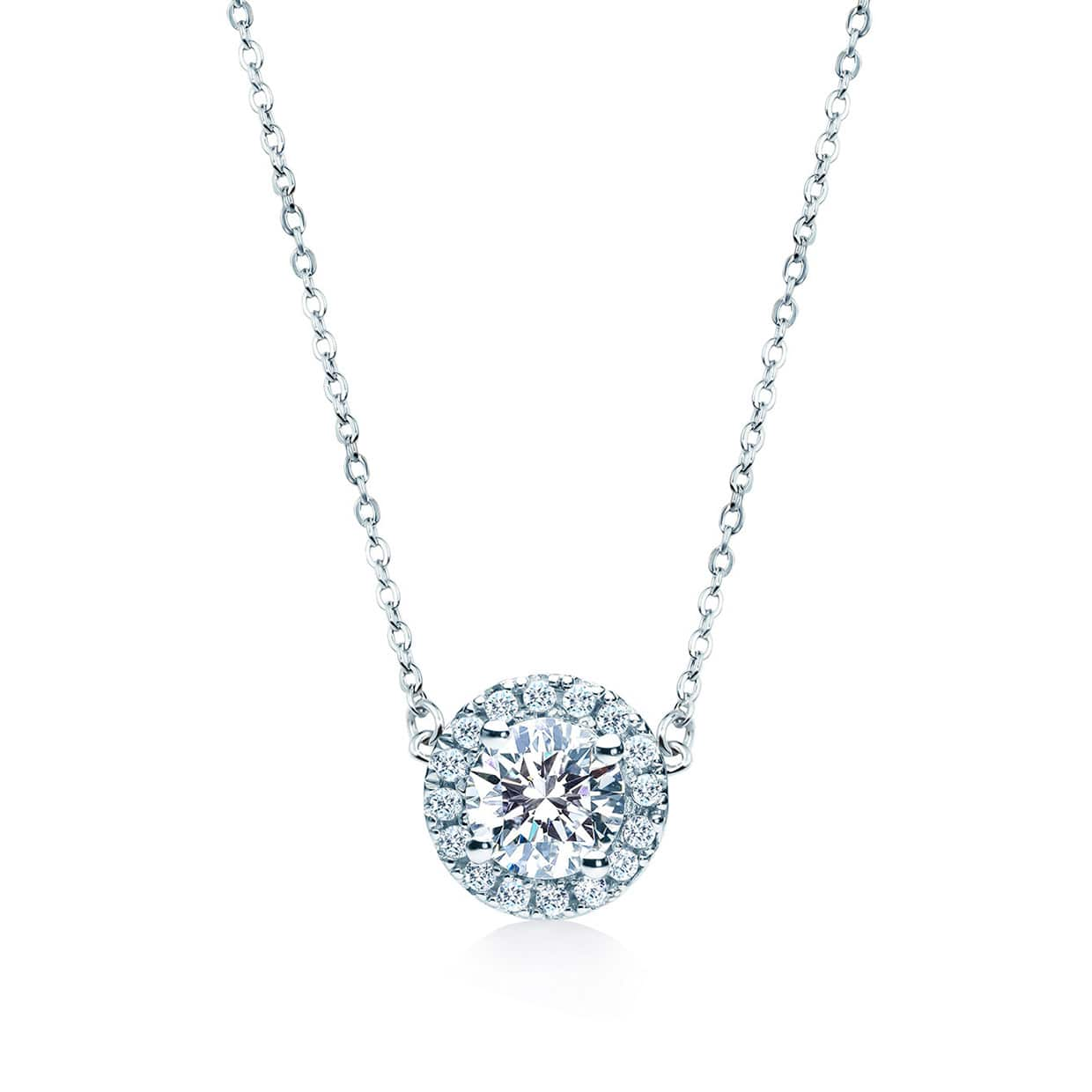 Oxford Silver Round Cut Halo Necklace