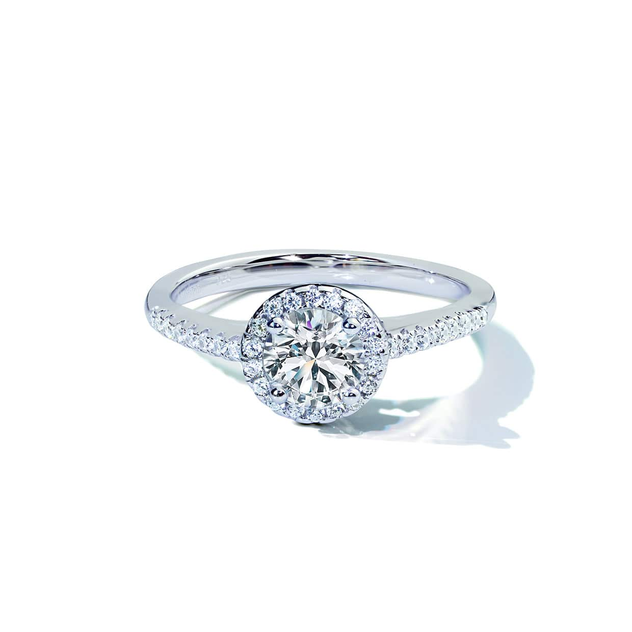 Oxford Silver Round Cut Halo Ring