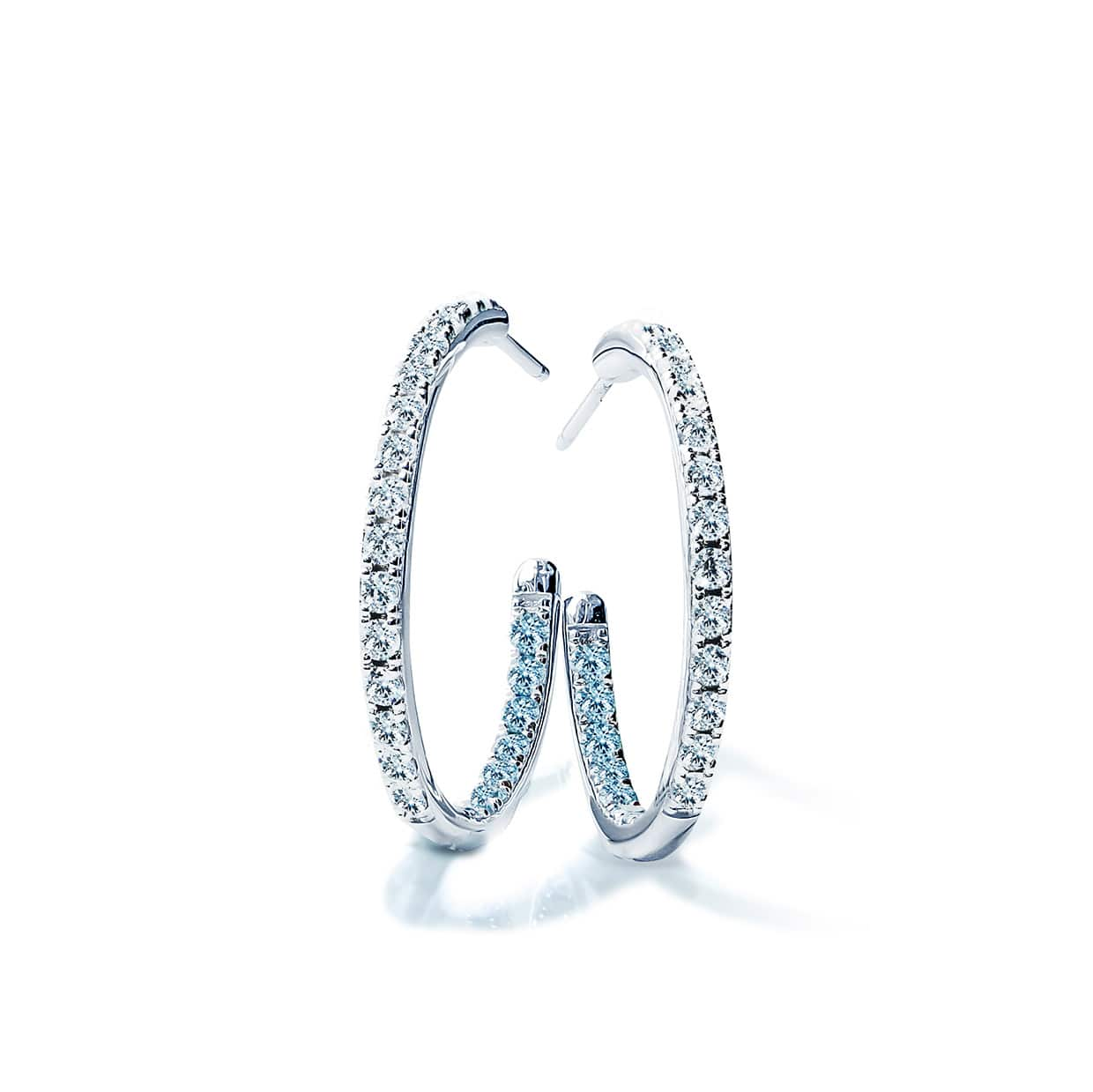 Oxford Silver White & Aqua Hoop Earrings - Abelstedt
