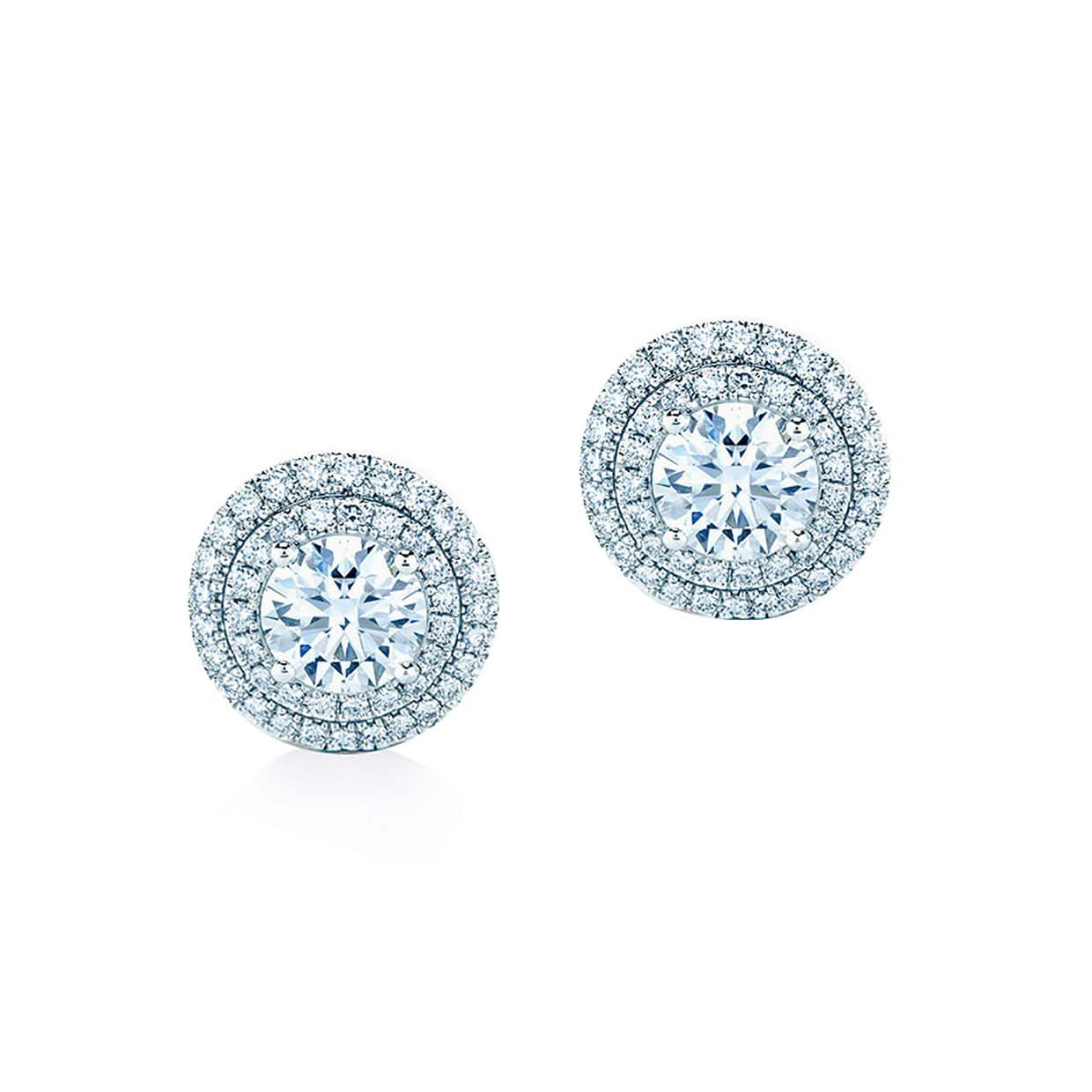 Oxford Silver White Double Halo Earrings