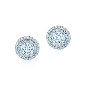 Oxford Silver White Double Halo Earrings - Abelstedt