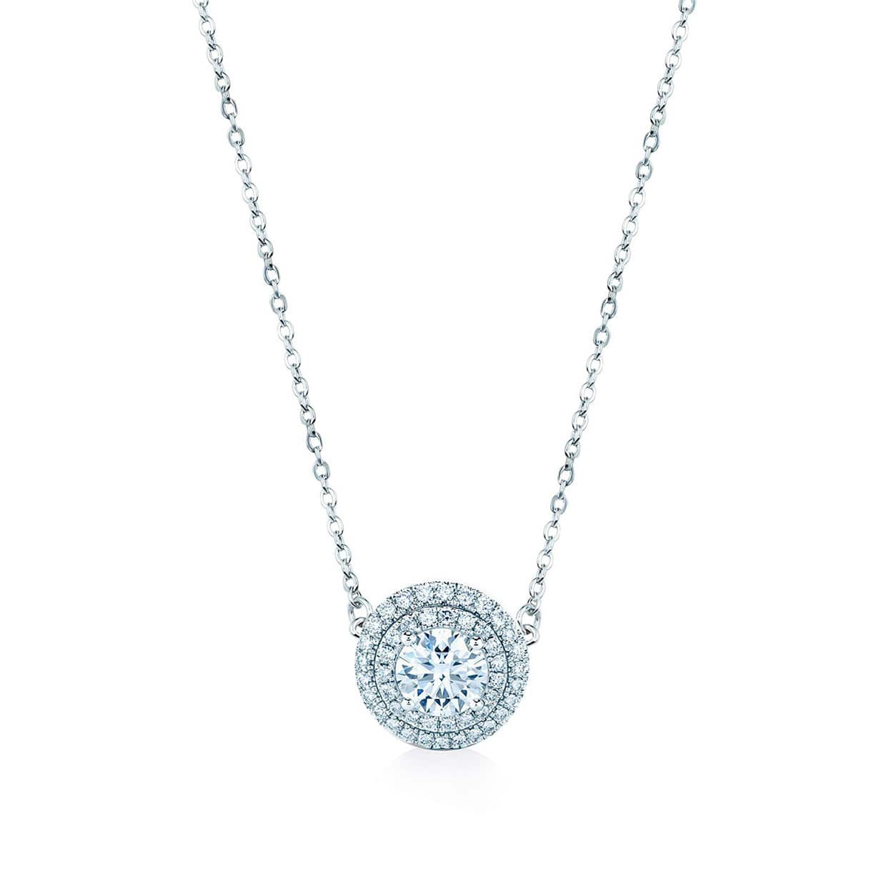 Oxford Silver White Double Halo Necklace - Abelstedt