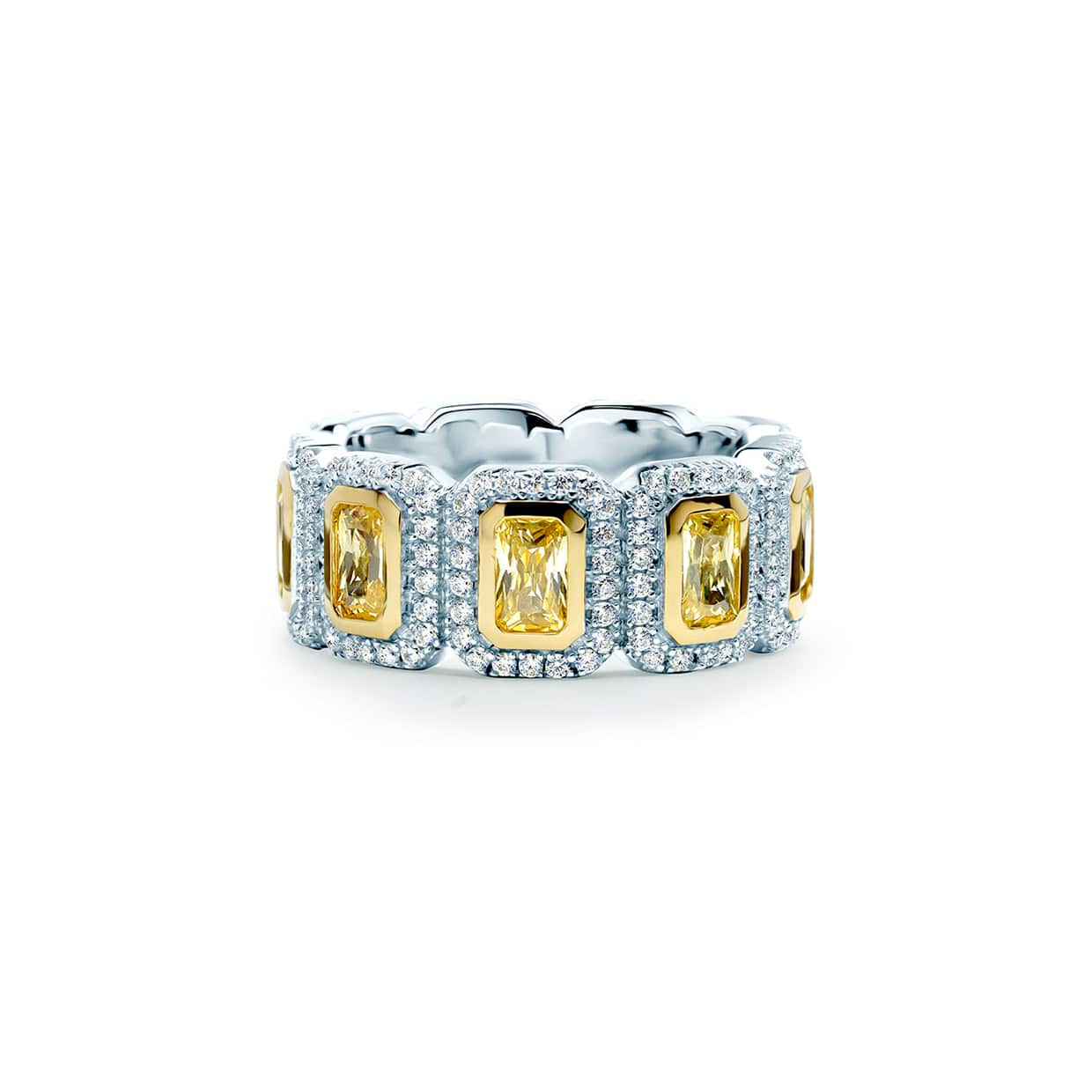 Oxford Silver Yellow Emerald Eternity Ring