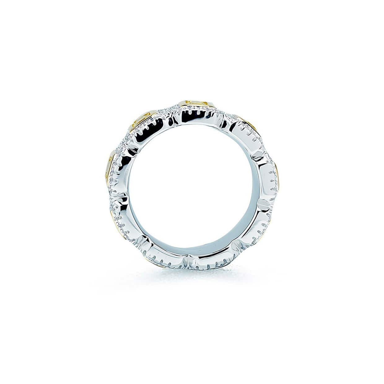 Oxford Silver Yellow Emerald Eternity Ring - Abelstedt
