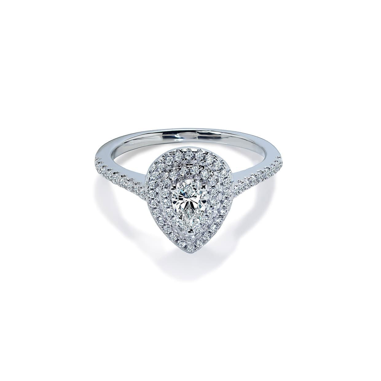Oxford Double Halo Pear Ring