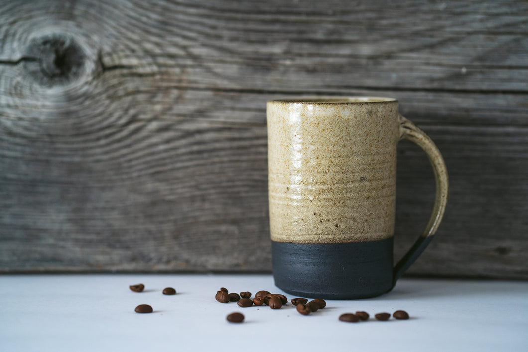 Tall Black Clay Mug