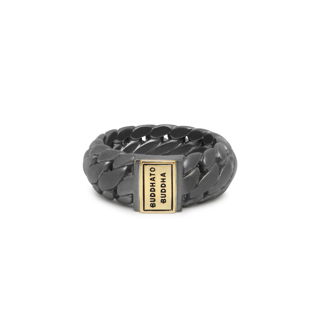 Buddha to Buddha 542BRG Ben Small Black Rhodium Gold ring