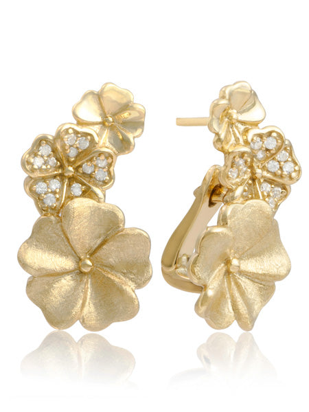 Sparkling Jewels Oorsieraden Blossom Crystal Gold plated EAG07