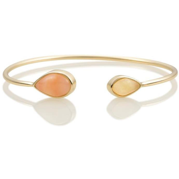 Sparkling Jewels Armband Double color Gold plated Peach Rhodonite & Yellow Jade SBG-BANDC08-S