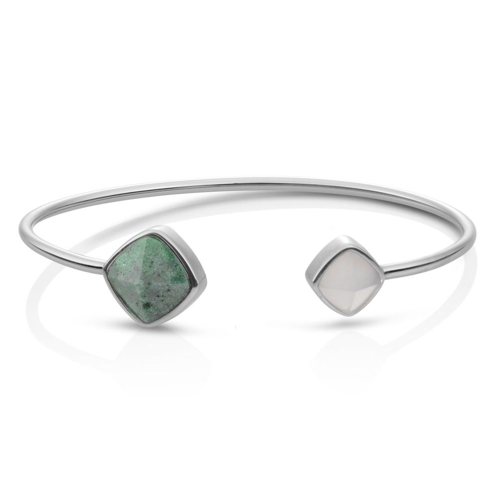 Sparkling Jewels Armband Double color Rhodium plated Edge Bangle Moss Agate & Grey Agate SBS-BANSQ02-S