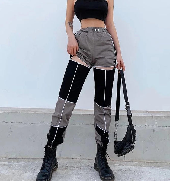 Thigh cutout overalls