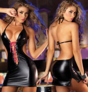 New Sexy Lingerie Women Leather Back Hollow Out Sexy Pole Dancing Erotic Lingerie Sexy Suits
