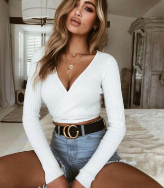 Women's Tops Fall Sexy Deep V Strap Long Sleeve Top