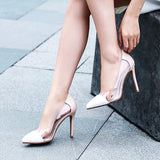 2020 new autumn single shoes female sense nude high heels female leather pointed wild Korean version of the fine wedding shoes
